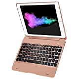 New iPad 9.7 iPad Pro 9.7 Keyboard Case 2018/2017, Sounwill Ultra Thin Folio Smart Case Protective Cover with Keyboard for iPad Air, iPad Air 2, iPad Pro 9.7, New iPad 2018 and iPad 2017 (Rose Gold)