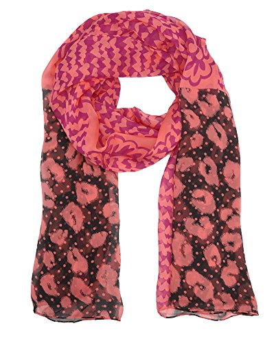 Juicy Couture Patchwork Silk Chiffon Oblong Scarf, Pink - Scarf Juicy