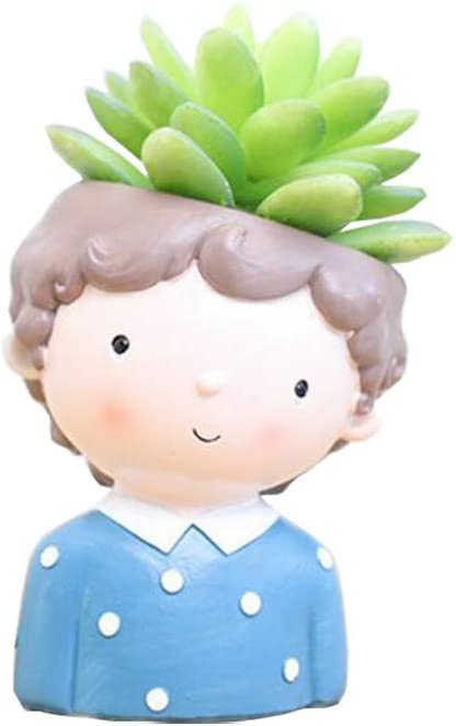 Youfui Boys Plant Decor Pot Pen Holder Succulent Flowerpot for Home Office Desk Decor Boy-Waiting