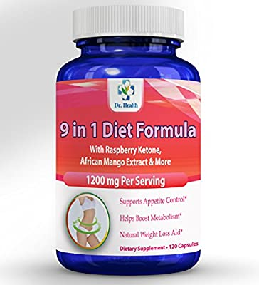 Natural Herbal Blend with Raspberry Ketone African Mango Acai Berry Green Tea Resveratol and more 9 ingredients in 1 Diet Weight Management Supplement 1200mg per serving 120 capsules