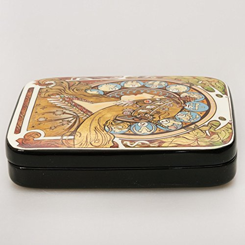 Beautiful Hand-painted Papier-mache Lacquer Box for Jewelry Zodiac Lacquer Box (A. Mucha) Great Gift for Women by Russian Lacquer Miniature (Image #2)
