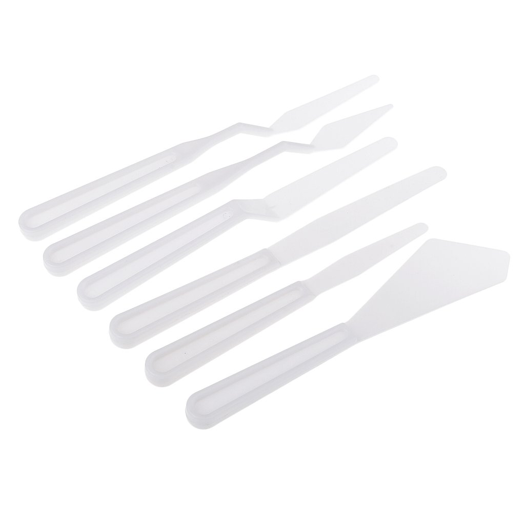 MagiDeal 6 Pieces Plastic Palette Cutter Artist Acrylic Oil Painting Palette Spatula Tools Mixing Tools non-brand