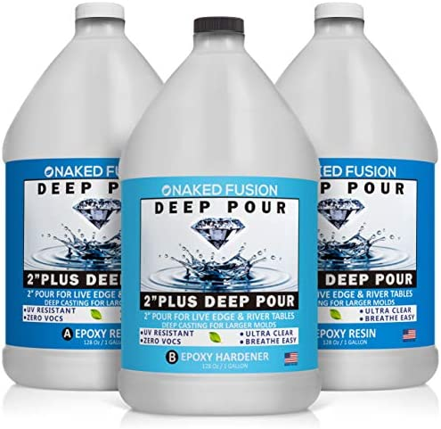 Epoxy Resin Crystal Clear-Deep Pour 2 Inch Art Epoxy Casting Resin-3 Gallon Kit-for River Tables, Deep Resin Molds and Deep Casting Projects - Non Toxic -Zero VOC