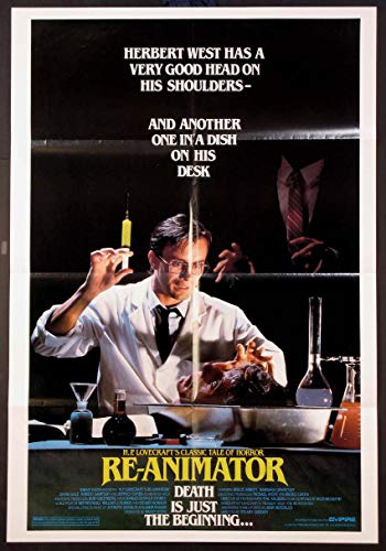 RE-ANIMATOR H.P. LOVECRAFT HORROR JEFFREY COMBS 1985 ORIGINAL 27X41 RARE STYLE ONE SHEET MOVIE POSTER