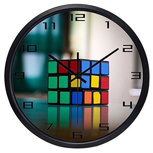 (Brand Modern Fashion Design Rubik's Cube HD Picture Wall Clock(10inch,Black Frame))
