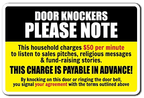 DOOR KNOCKERS PLEASE NOTE Sign warning solicitation home | Indoor/Outdoor | 12