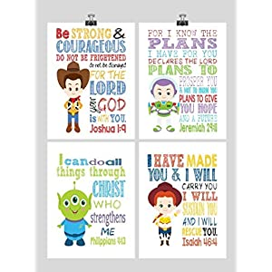 Toy Story Christian Nursery Decor Set of 4 Prints – Woody, Buzz Lightyear, Jessie and Alien with Bible Verses