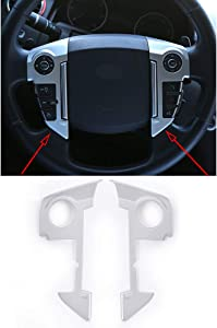 YIWANG ABS Chrome Car Steering Wheel Cover Trim 3D Sticker 2pcs For Land Rover Range Rover Sport 2010-2013 Car Accessories (Matte Silver)