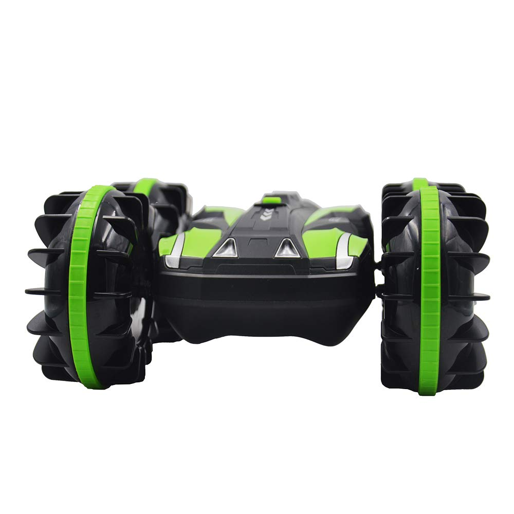 Blomiky Waterproof 1/18 Scale 4WD Drive 2 4G Double Side Amphibious Land  Water Snow RC Truck Remote Control Cars Vehicle Toy for Kids Extra 2  Battery