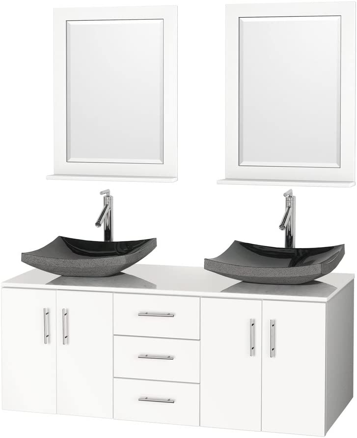 Amazon Com Arrano 55 Inch Double Bathroom Vanity White With Vessel Sinks Kitchen Dining
