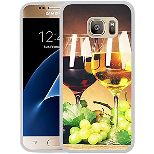 Galaxy S7 Case,S7 Case,Red White Wine Glasses Grapes White Rubber Case For Samsung Galaxy S7 Sales