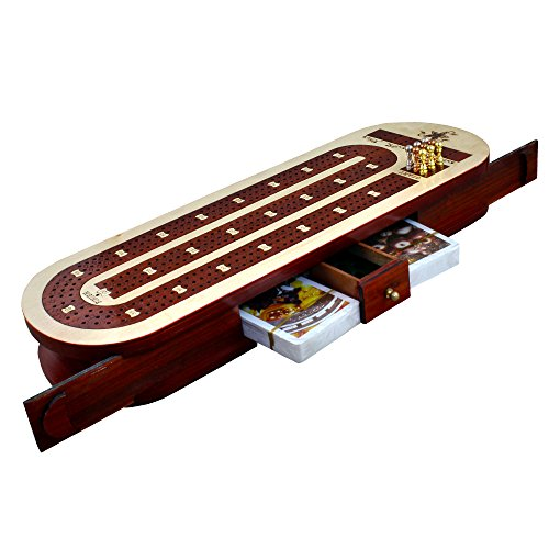 3 Track Cribbage Board Card Game Set with 12 Metal Pegs, 2 Decks Of Cards, 9 Metal Pegs With Storage by RoyaltyRoute