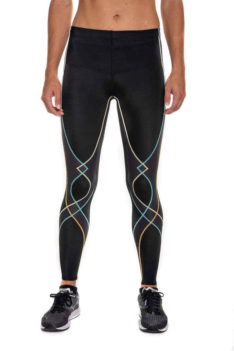 CW-X Women's Stabilyx Joint Support Compression Tight, Black/Bright Rainbow, Small by CW-X (Image #1)