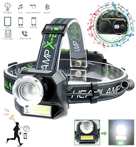 XULUOQI Headlamp,LED Rechargeable Headlamp Flashlight With Wireless Bluetooth Speaker, Comfortable Headlight Can Read Micro sd Card and USB Wireless Link Phone to Listen to Mp3 Music,Running, Camping