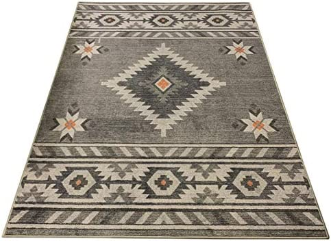 Nevita Collection Southwestern Native American Design Area Rug Rugs Geometric Southwestern Grey, 8 x 10