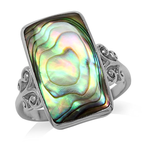 Abalone/Paua Shell Inlay White Gold Plated 925 Sterling Silver Swirl & Spiral Ring Size 8