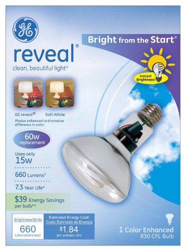 GE Lighting 90807 Reveal Energy Smart Bright from the Start CFL 40-watt, 660-lumen R30 Indoor Flood Light Bulb with Medium Base
