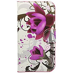 Alcatel One Touch Pop C5 Case,Beebiz Purple flower Design Wallet PU Leather Stand Flip Case Cover for Alcatel One Touch Pop C5 / 5036D