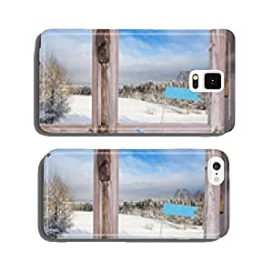 Wintry background with snow: traveling in winter cell phone cover case Samsung S5