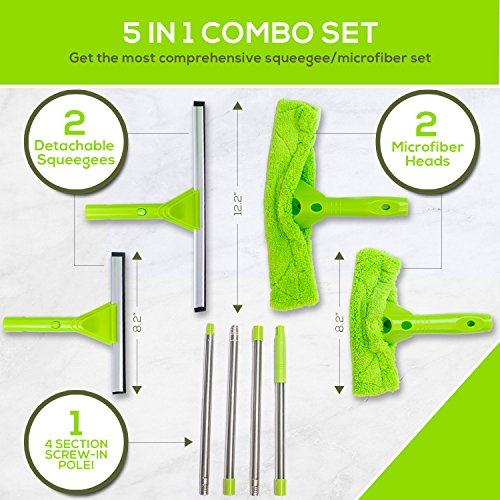 NeverEnding Reach Squeegee Window Cleaner Kit   Shower Squeegee, High Window Cleaning Tools, Car Windshield Tool and Doors - Indoor / Outdoor Washing Equipment with Extension Pole and 4 Washer Heads by Modern Domus (Image #1)