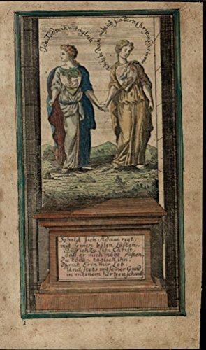 (Women Holding Hands Wearing Hearts 1740 charming unusual antique color print)
