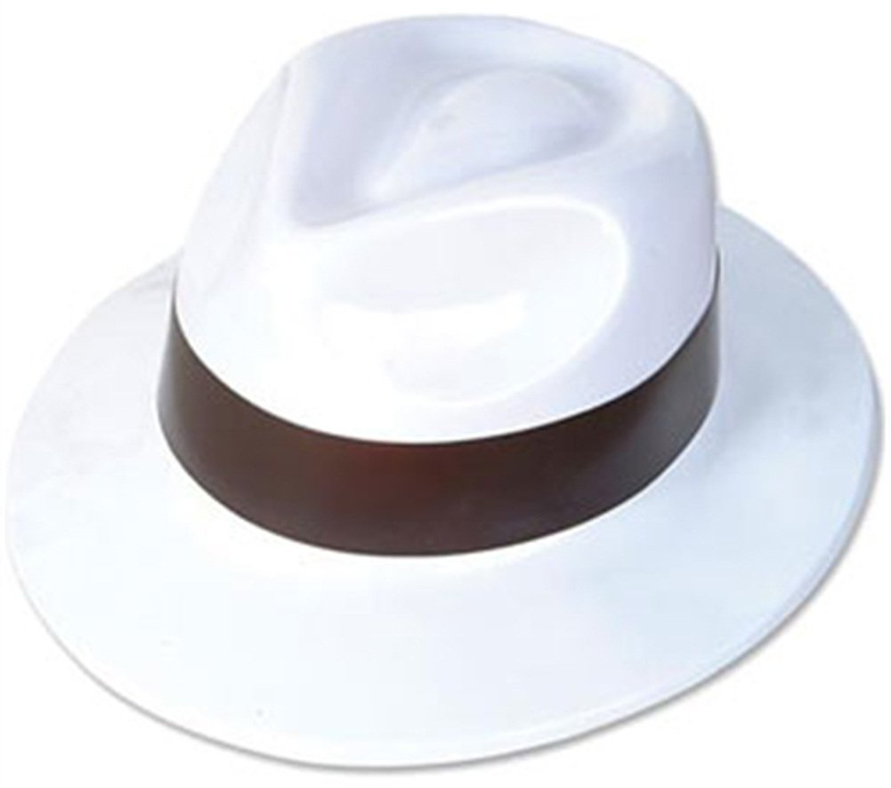 Rhode Island Novelty Black & White Plastic Costume Party Gangster Fedora Hat