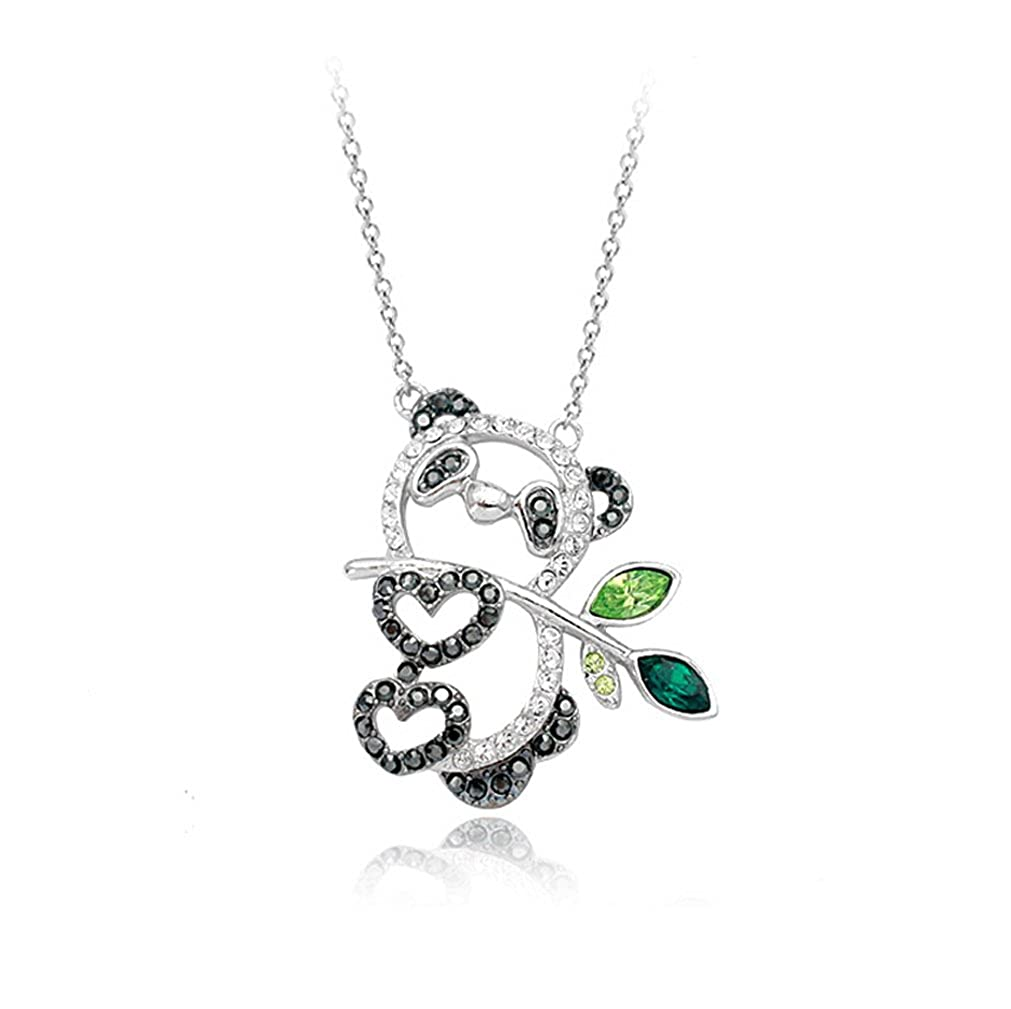 8d8fda244c9a9 White Gold Plated Hollow Style Happy Panda Pendant Necklace with Swarovski  Elements Crystal Fashion Jewelry