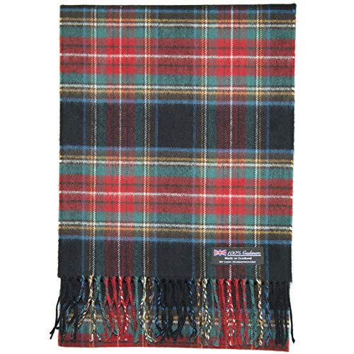 2 PLY 100% Cashmere Scarf Elegant Collection Made in Scotland Wool Solid Plaid (Black Red GReen ZS23)