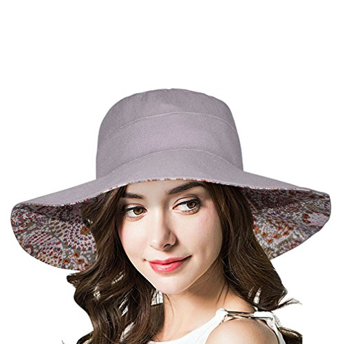 id Packable Wide Brim Sun Hat UPF50+ Light Grey (Womens Reversible Sun Hat)
