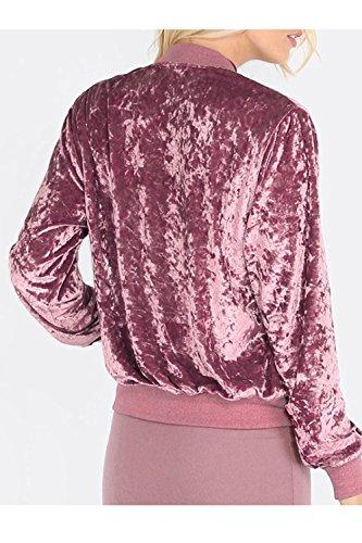 De Abrigo Monocolor Chaqueta Bomber Terciopelo Mujeres Pink Placa Vintage 04qz0Yw