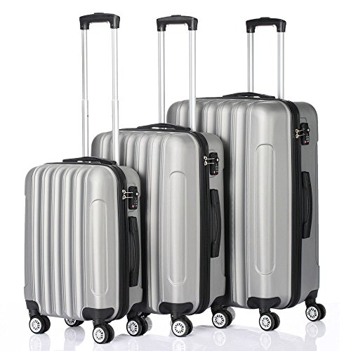 3 Pcs Luggage Travel Set Bag ABS+PC Trolley Suitcase w/TSA lock Gray New by tamsun