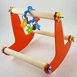 BleuMoo Burly Wood Pet Bird Parrot Swing Toy