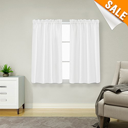Bathroom Fabric Curtain Window (Lazzzy White Curtains for Small Window 45