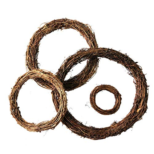 Ougual DIY Crafts Natural Grapevine Wreaths (6-Inch, 4-Pack)]()