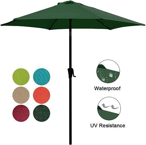 COBANA 7.5ft Patio Umbrella Outdoor Table Market Umbrella with Push Button Tilt Crank, 6 Ribs, Dark Green