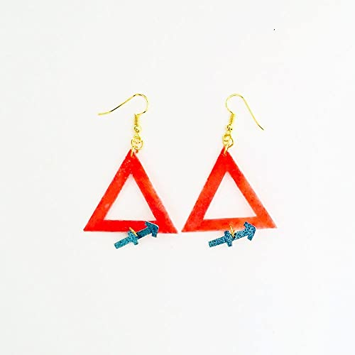Sagittarius Zodiac Geometric Earrings Fire Symbol Earrings