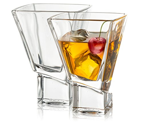 JoyJolt Carre 2-Piece Cocktail Glasses Set, 8 Ounce Martini Glasses]()