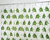 mDesign Turtle PEVA Shower Curtain, Clear/Green