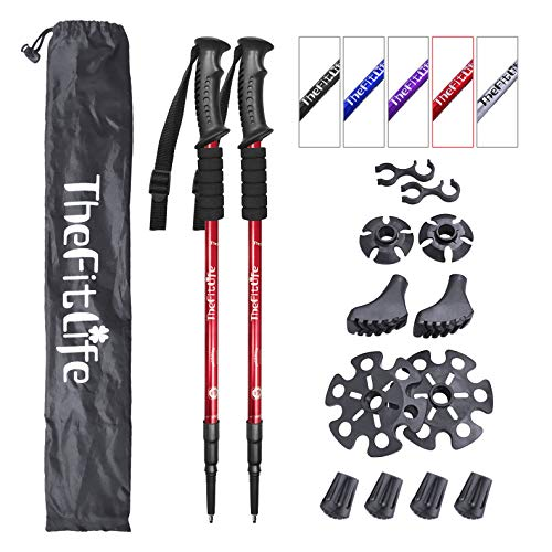 Red Walking Stick - TheFitLife Nordic Walking Trekking Poles - 2 Packs with Antishock and Quick Lock System, Telescopic, Collapsible, Ultralight for Hiking, Camping, Mountaining, Backpacking, Walking, Trekking (Red)