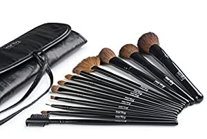 Professional Studio Quality 12 Piece Natural Cosmetic Makeup Brush Brushes Set Kit with Pouch Case Bag (Jet Black) by Karity
