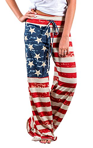 Halloween In The Usa (4th of July American USA Flag Womens Patriotic Pants Ladies Drawstring Trousers (Tas L(US 12), Picture)