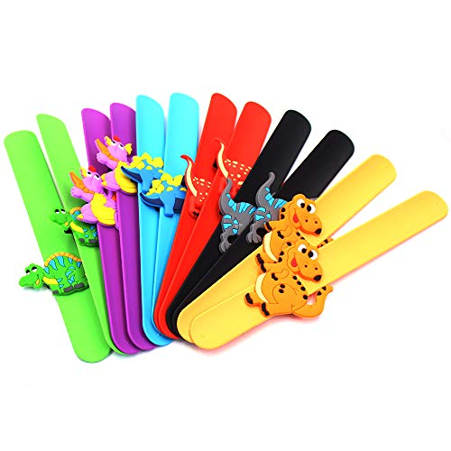 M-Aimee Dinosaur Slap Bracelets for Kids 12 Pack - Silicone Snap On Wristbands with Dinosaur - Bulk Novelty Bracelet Gifts for Kids - Mix and Match Charms - Birthday Party Favors - Supplies -