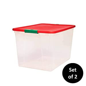 "HOMZ Holiday Plastic Storage Container, 64 Quart - 23.5"" x 16.125"" x 13.5"", Clear/Red/Green, 2 Sets"