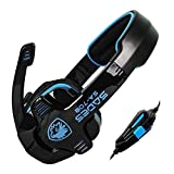 Andget SADES SA-708 3.5mm Stereo Headset Headphones Gaming Headset with Microphone Black / Blue