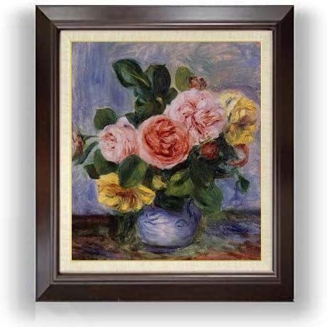ルノワール バラの花瓶 F10 油絵直筆仕上げ| 絵画 10号 複製画 ブラウン額縁 675×601mm
