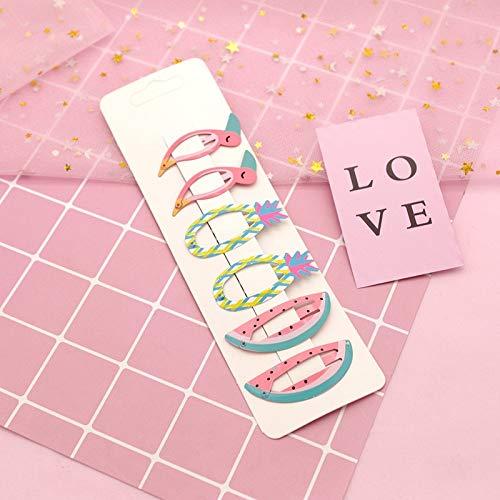 Hair Clips - 6pcs/set new kids hair accessories fruit pineapple hairpins children paint bb clip girls cute cartoon mermaid rainbow hair clips