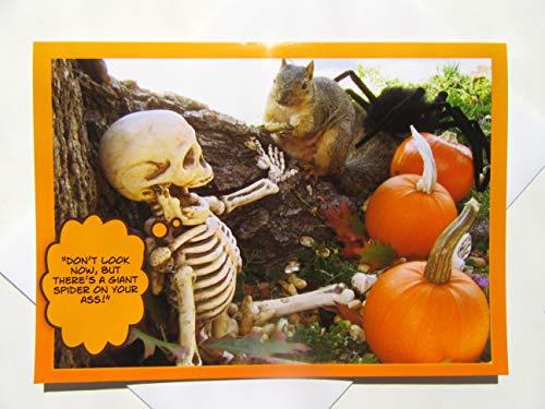Halloween Card - Funny Halloween Card - Halloween Squirrel Card - Funny Skeleton Card - Adult Halloween Card - Seasonal Card]()