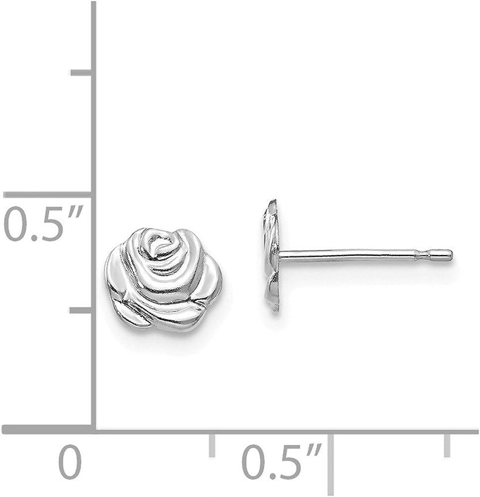 14kt White Gold Madi K Polished Rose Post Earrings