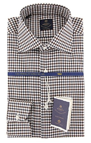 new-luigi-borrelli-brown-check-extra-slim-shirt