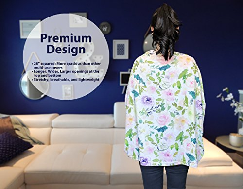 Premium Soft, Stretchy, and Spacious 4 in 1 Multi-Use Cover for Nursing, Baby Car Seat, Stroller, Scarf, and Shopping Cart - Best Gifts by Pobibaby (Allure) by Pobibaby (Image #9)
